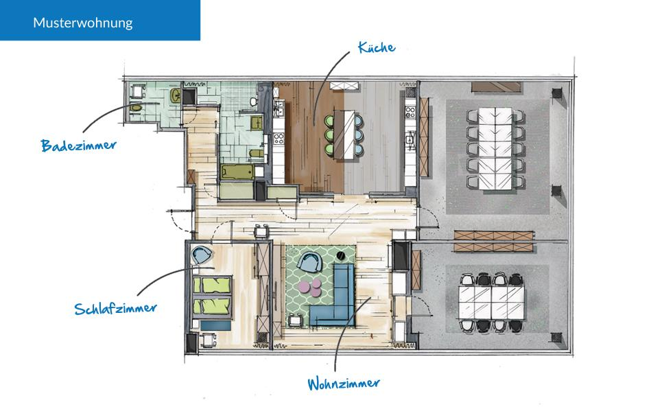 Ambient Assisted Living Musterwohnung Grundriss